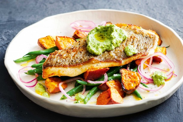 Snapper with macadamia pesto and bean salad egmont seafoods for Pesto fish recipes