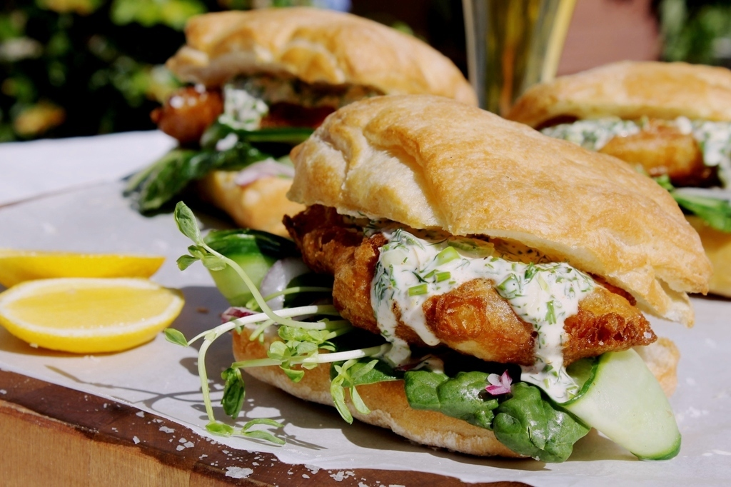 Beer battered fish burgers with garlic herb mayo egmont for Fish burger recipe